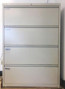 Locking, large, metal business filing cabinet