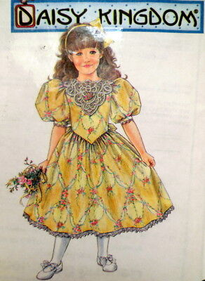 S 8870 SEW PATTERN DAISY KINGDOM GIRL DRESS PUFF SLEEVES SHAPED WAIST 7-10 UC