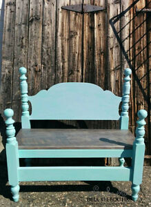 Turquoise and silver bench