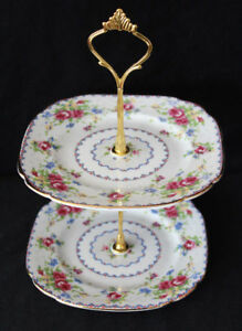 PETIT POINT - ROYAL ALBERT  -  TIERED CAKE STAND