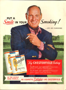 1955 full page color ad Chesterfield Cigrettes Leo Durocher