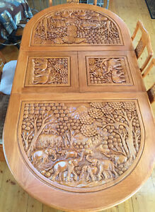 EXQUISITE HAND CARVED SOLID TEAK DINING TABLE AND CHAIRS