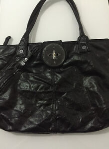 Diesel Black Shiny Latch Tote
