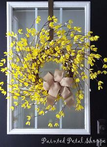 Forsythia & Willow Spiral Wreath/Spring Wedding Decor