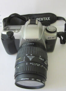 PENTAX MZ30 SLR 35MM FILM CAMERA WITH CASE, AUTO WINDER AND ZOOM