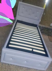 Grey single storage bed