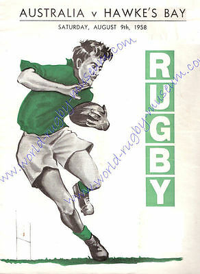 HAWKES BAY v AUSTRALIA 9th August 1958 SUPERB RUGBY POSTER - A2 SIZE