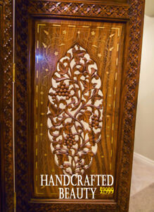 Beautiful Rosewood Decorative Screen With Handcrafted Inlaid Bra