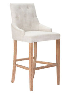 BEIGE FABRIC BAR STOOL WITH WOODEN LEGS - on special