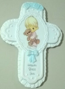 Precious Moments Baby Heaven Bless You Porcelain Wall Cross