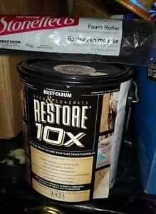 Rustoleum deck and concrete paint and roller.  New $30