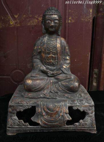 Tibet Buddhism Iron Gilt Shakyamuni Amitabha Buddha Sakyamuni Tathagata Statue