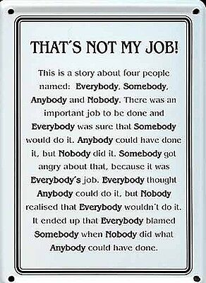 That's Not My Job mini metal sign / postcard  110mm x 80mm (hi)