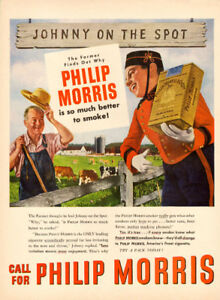 Large 1947 full-page color ad for Philip Morris Cigrettes