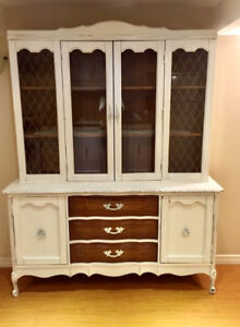 * Marked Down * Vintage French Provincial 2 Piece China Cabinet