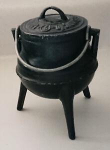 Vintage Rare Miniature Cast Iron Cauldron Three Footed with Lid