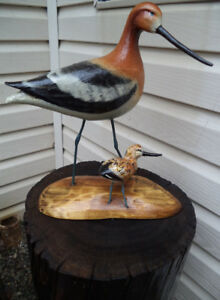 Bird Lovers-Wooden  hand carved bird and baby on pedestal-$175