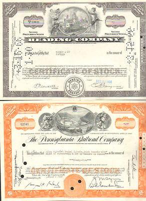 Monopoly railroads > Reading B&O Pennsylvania Set of 3 stock certificate
