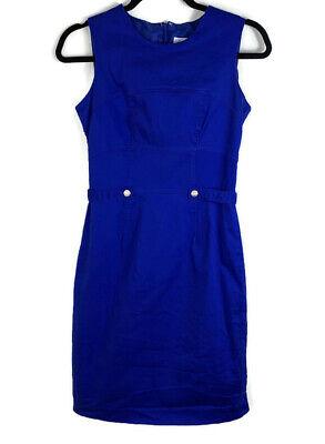 Calvin Klein Dress womens size 4 solid blue sleeveless aline career formal