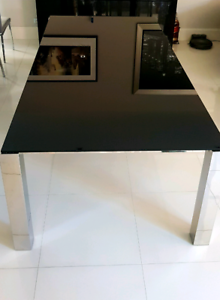 Black glass 10 seater dining table (only table)