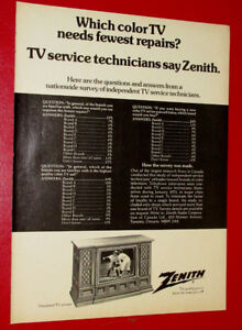 1973 ZENITH TELEVISION AD COMPARED TO OTHER TVS - RETRO VINTAGE