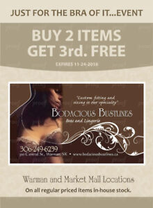 FREE BRA or FREE SAXX! One week left to event ends November 24th