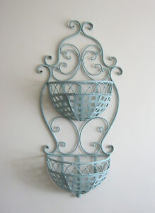 Provence style wrought iron for wall with two baskets