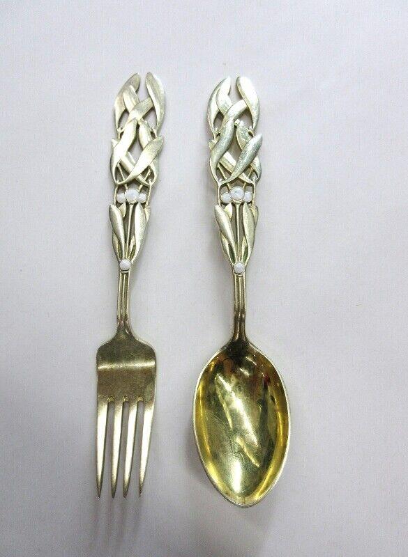 A Michelson Mistletoe Fork and Spoon Flatware Gilt Sterling Silver 1941 Denmark