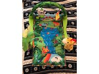 *BARGAIN* NEVER USED RAINFOREST STYLE PLAYMAT JUST £8 + FREE HAND + SOCK RATTLES