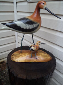 Unique-hand carved wood Bird w/Baby on log Pedestal-$175