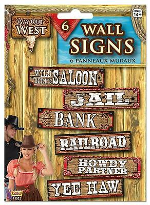 WALL SIGNS X 6  COWBOY WAY OUT WEST RODEO BARN DANCE WESTERN PARTY - Barn Dance Decor
