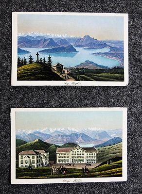 c1870 Schweiz Rigi Kulm Vierwaldstättersee 2 kolorierte Aquatina-Ansichten
