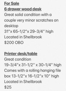 For Sale: Desk and printer table