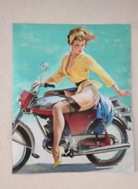 Pin up girl biker PRINT / POSTER / WALL ART