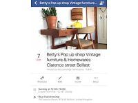 Vintage retro furniture pop up shop Belfast