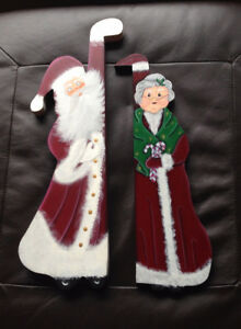 Christmas Wooden Tole Painted Santa and Mrs. Claus