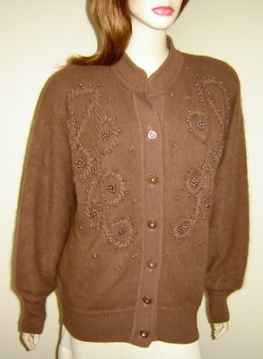 Vintage BELLDINI Brown Angora Blend Cardigan Sweater w/ Pearl Accents (M) 1980s