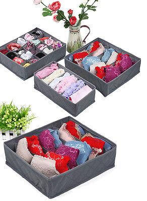 3pc Underwear Sock Tie Storage Organizer Drawer Bra Pants Divider Tidy Wardrobe