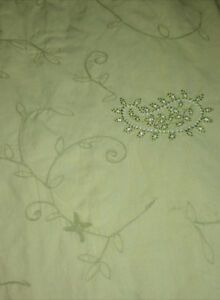 Reduced-Pottery Barn Light Green Embroidered King Duvet Cover