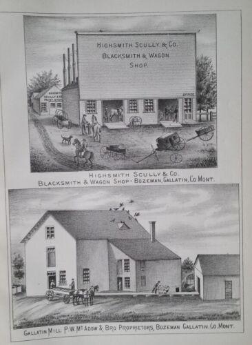 1885 Highsmith Scully Blacksmith & Wagon Shop Print Bozeman Pop 867 MT Territory