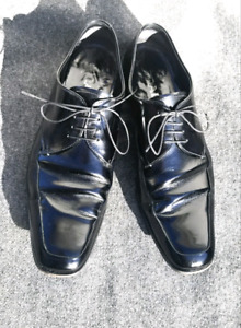 PRADA Derby Oxfords Mens Size 11 Black Leather Dress Shoes