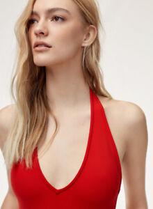 Aritzia Talula Halter Bodysuit Red XXS NWT