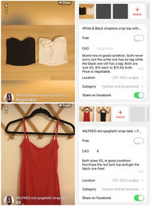 **WHITE/BLACK STRAPLESS CROP TOP/ WILFRED RED SPAGHETTI STRAP**