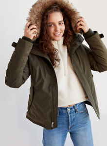TNA Xxs short winter parka in brown (real goose down)