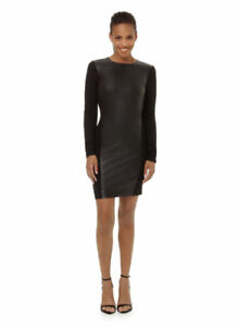 Wilfred body-con dress with faux leather panel (size M)