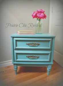Gorgeous Refinished Teal 2 Drawer Side/End Table