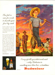 1946 full-page (10 ¼ x 14) color magazine ad for Budweiser