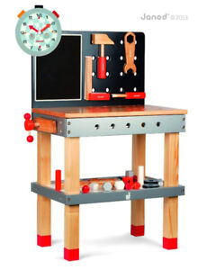 NEW!  Janod Toy Workbench Wooden Magnetic with Adjustable Feet