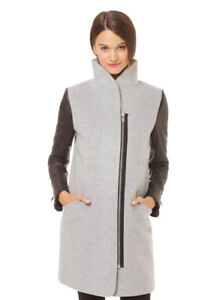 Aritzia Wilfred Cocoon Coat Leather Sleeves