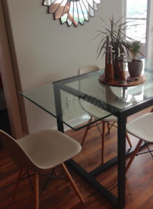 West Elm Glass and Metal Dining Table